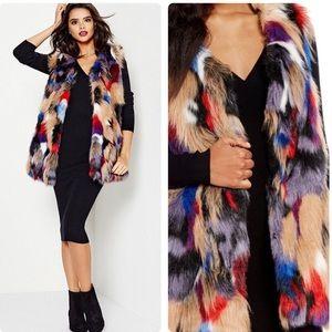 Gianni Bini Multi Color Faux Fur Vest Size Small
